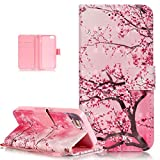 iPhone SE Case,iPhone 5S Case,iPhone 5 Case,ikasus Shiny Glitter Diamond Colorful Painted PU Leather Flip Wallet Pouch Stand Credit Card ID Holders Case for iPhone SE 5S 5,Pink Plum Blossom Flower