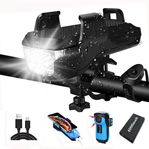 KWDA 4 in 1 Multifunktion Solar Fahrradlicht Led Set,Enthalten Licht Fahrrad Vorne,Fahrrad Handyhalterung,USB Outdoor Powerbank 4000mah,Fahrradklingel and Fahrradbeleuchtung (USB)