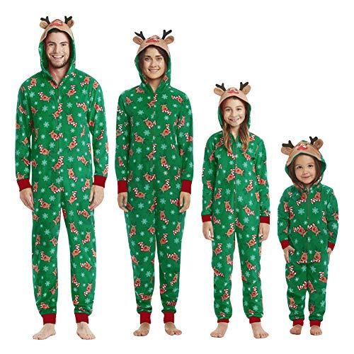 URMOSTIN Pigiami Famiglia Natale Set Onesie Pigiama Interno Tuta da Notte con Cappuccio Tutina Abbinata Genitore-Figlio Costume Coordinati per Donna Uomo Bambino