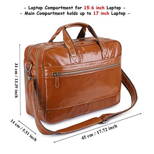 UBaymax Leder Aktentasche Laptoptasche Herren, Vintage Ledertasche Businesstasche für bis 17 Zoll Laptop, Klassische Echt-Leder Schultertasche Arbeitstasche Messenger Tasche, Hellbraun