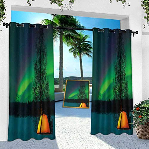 """YUAZHOQI Patio Curtains Outdoor Waterproof, Camping Tent Under Magnetic Field Nature Picture, W 100"""" x L 95"""" Thermal Insulated Grommet for Patio Porch Cabana(1 Panel)"""