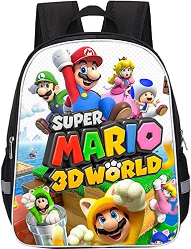 Super Mario Bros Mario Kart Mochila escolar para niños, dibujos animados, Mario Juego Escolar Gran Capacidad Multifunción (Mario-15,13 pulgadas)