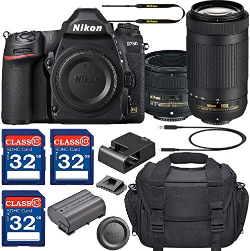 Nikon D780 DSLR Camera with AF-S NIKKOR 50mm f/1.8G Lens & 70-300mm ED Lens + 3 Memory Card Bundle