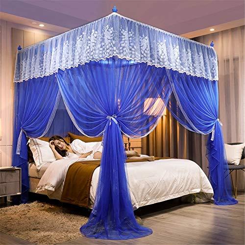 Acyoung Moskitonetz Einzelbett Mückennetz Fliegennetz Reise Moskitonetz Feinmaschiges Moskitonetz für Bett rechteckiges (Blau,180 * 200)