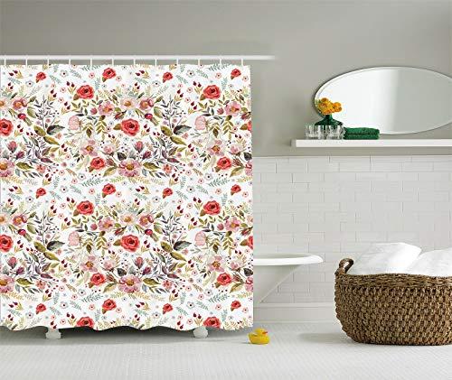 123456789 douchegordijn van polyester met bloemmotief