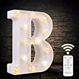 LED Letter Lights White Marquee Letters Light Up Sign with Diamond Bulbs Remote Control Timer Dimmable Wedding Birthday Party Decoration Letters (B)