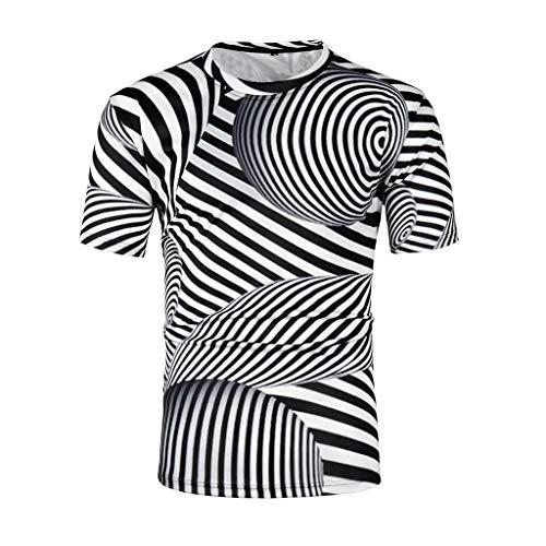 Zarupeng 3d streep T-shirt met korte mouwen en ronde hals, casual thee tops, slim fitness shirt, stretch sweatshirt, bovenstuk.