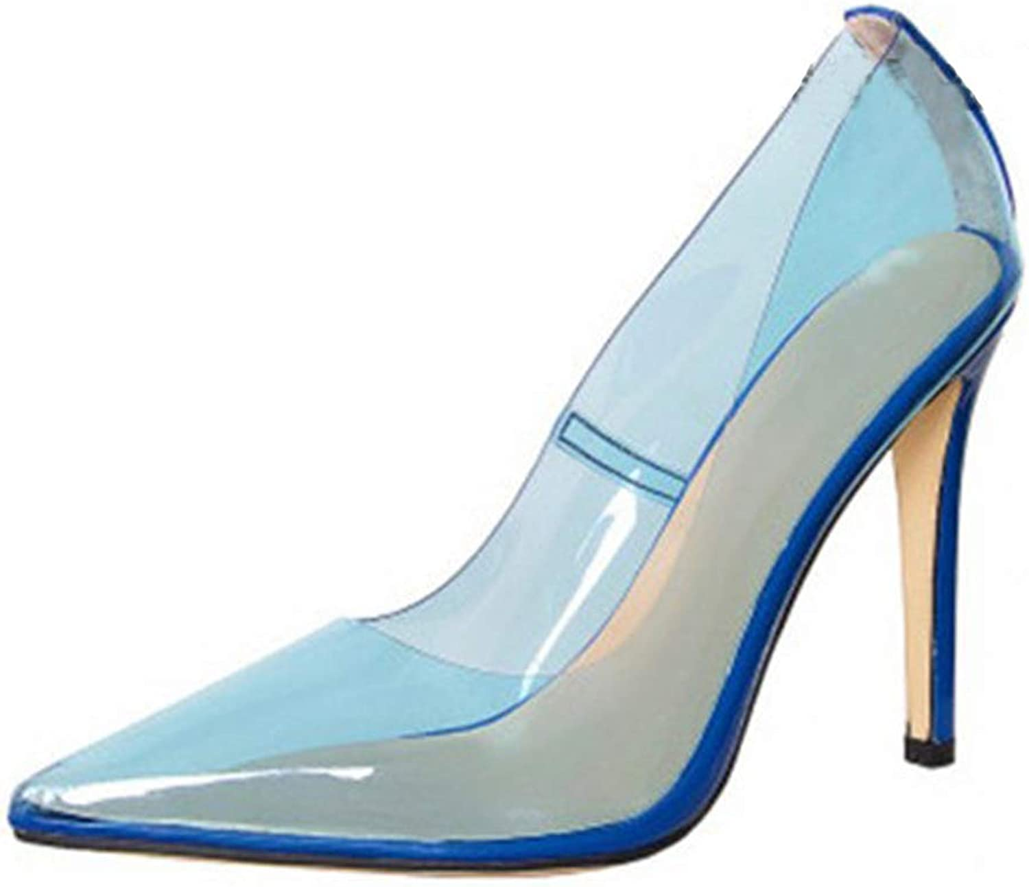 Women's High Heel Pumps Sexy Pointed Toe Nude Clear Pump Slip On Stiletto Heels Sandals Wedding Dress shoes