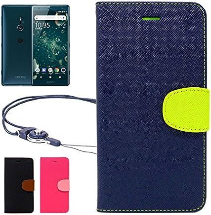 【 shizuka-will- 】SONY Xperia XZ2 docomo SO-03K au SOV37 Softbank 702SO 専用 手帳型 ケース カバー 2WAYワンタッチ着脱ストラップ付 カード収納あり 紺×黄緑