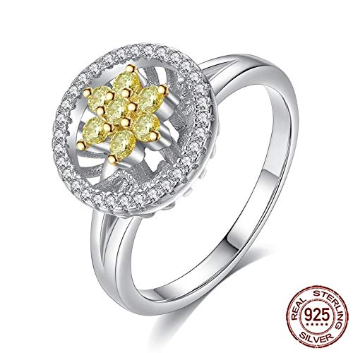 THTHT witte gouden ringen voor vrouwen grote ronde sneeuwvlok 925 sterling zilver verlovingsring mannen vrienden accessoires 8