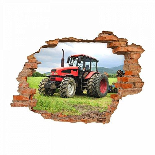 nikima Schönes für Kinder 047 Wandtattoo Traktor - Loch in der Wand Trecker auf Wiese - in 6 Größen - Kinderzimmer Stic Junge Mädchen -ker Aufkleber Wanddeko Wandbild Größe 750 x 520 mm