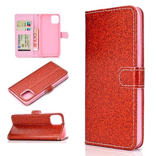 BAIYUNLONG Funda para iPhone 12 Pro Max Glitter Powder Horizontal Flip Funda de piel con ranuras para tarjetas, soporte y marco de fotos, cartera y cordón (color rojo)