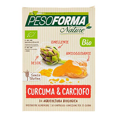 Pesoforma Integratore Alimentare Biologico, Senza Glutine a Base di Curcuma e Carciofo Bio, 30 compresse