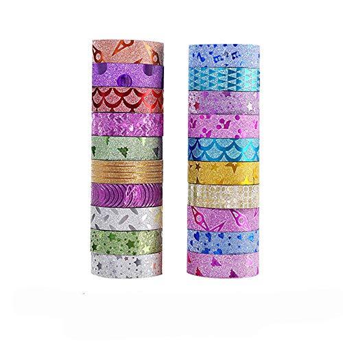 Aokshen 20 Stück Glitzer Washi Tape Dekoratives Papier Klebeband Glitzer Selbstklebende Masking Tape für Geschenkverpackung, Scrapbooking, Aufkleber, Kartenherstellung