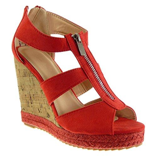 Angkorly - Damen Schuhe Espadrilles Sandalen - Plateauschuhe - Seil - Kork - String Tanga Keilabsatz high Heel 11 cm - Rot 628-132 T 40