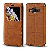 Funda Samsung Galaxy Core Prime de piel de grano de madera con tarjetero y ventana, tapa magnética con tapa para Samsung Galaxy Core Prime (marrón)