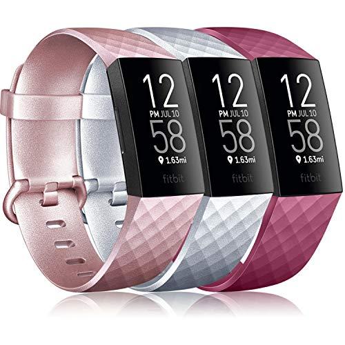 Yandu Cinturino Compatibile con Fitbit Charge 3/ Fitbit Charge 4, Cinturino Sportivi per Fitbit Charge 3/ Fitbit Charge 3 SE (02 Vino Rosso+Argento+Oro Rosa, S)
