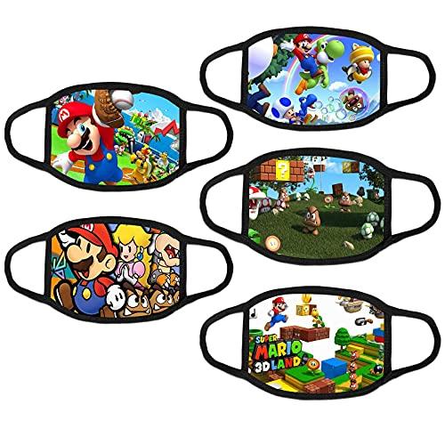 5 PCS Youth Mario Masks Face Cover Reusable Adjustable Balaclava Bandana Cloth Mask for Kids