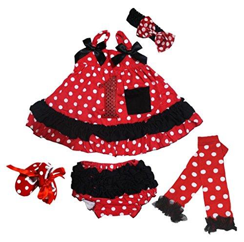 Petitebelle 1st Pois Rouge Top à volants bloomer avec ensemble de Jambière Chaussures Nb-24 m - Rouge - M