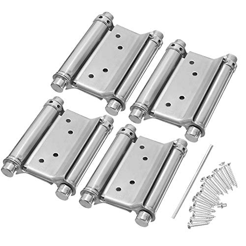 Boshen 4Pcs 4Inch Self Closing Double Action Spring Hinges Tension Adjustable Stainless Steel Hinges for Saloon Bar Pub Cafe Swinging Doors (4, 4 inch)