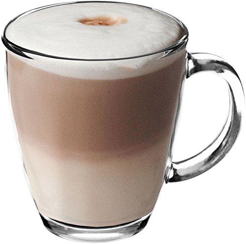 Get Goods Taza de Cristal Templado para Latte, 350ml. paracafé/té/Espresso/Cappuccino–se Puede Lavar en lavavajillas, 1 Unidad