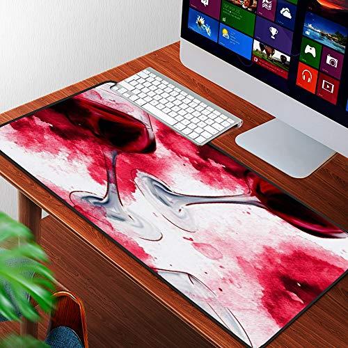 Luoquan Alfombrilla Raton Grande Gaming Mouse Pad,Pintura Acuarela Color Rojo Vino Patrón Comida Bebida Acuarela Alcohol Licor Resta,Lavable, Antideslizante Diseñada para Gamers, Trabajo de Oficina