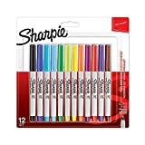 Sharpie marqueurs permanents, pointe ultra fine, couleurs assorties, Lot de 12