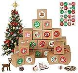 MEIXI Calendario de Adviento 2020, 24 Calendario Adviento DIY, Cajas de Regalo Navidad Calendario de Adviento con 24 Adhesivos Digitales, para Navidad, Fiesta, Decoración de Regalos