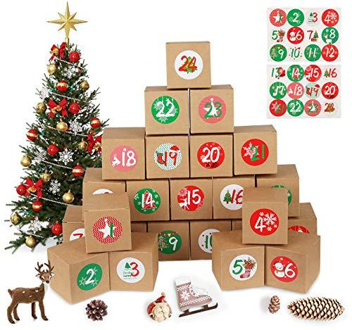 MEIXI 24 Adventskalender zum Befüllen Tüten mit 24 Zahlenaufklebern, Geschenkbeutel Adventskalender Boxen, Schachteln zum Befüllen Weihnachtskalender DIY Bastelset