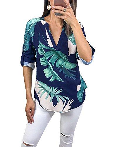 Minetom Femme D'été Col V Chemisier Chic Imprimé Fleur T-Shirt Manches Longues Lâche Mode Casual Tops Blouse Hauts B Bleu FR 40