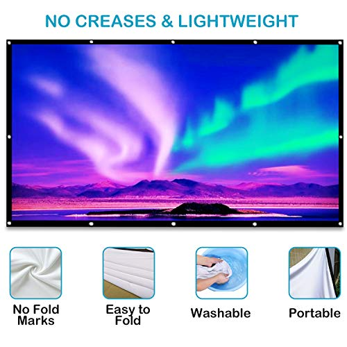 Artlii Projector Screen 100 Inch Portable Projection Screen 16:9 HD 4K Foldable for Home Theater Cinema Indoor Outdoor Front and Rear Projection