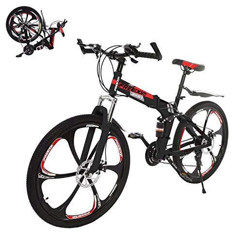 HUUH Folding Mountain Bike,Folding Bike,26in Mountain Bike Shimanos 21 Speed Bicycle Full Suspension MTB Bikes Racing Outdoor for Adults Men Women Teens Sport 【Ship from USA】 (Red)