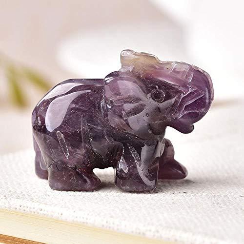 Miner Bergmann 1PC Naturkristall Rosenquarz Elefant Amethyst Obsidian Tiere Stein Handwerk Kleine Dekoration Wohnkultur, Amethyst