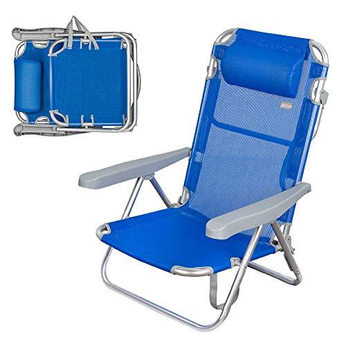 AKTIVE 62608 – Sedia da Spiaggia a 5 Posizioni con Testa 60 x 47 x 83 cm