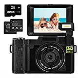 Digital Camera 2.7K 30MP with 3.0 Inch flip Screen Vlogging Camera for Kids,Students,Beginners Photography with 32GB Micro SD Card and 2 Batteries