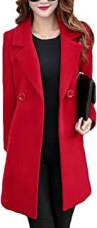 Frieed Women Stylish Double-breasted Overcoat Wool Blend Long Trench Coat