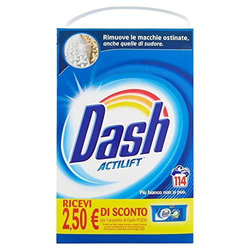 Dash Lessive poudre pour machine à laver, 114 lavages, classique, grande taille, élimine les taches, brillance pour tous les vêtements