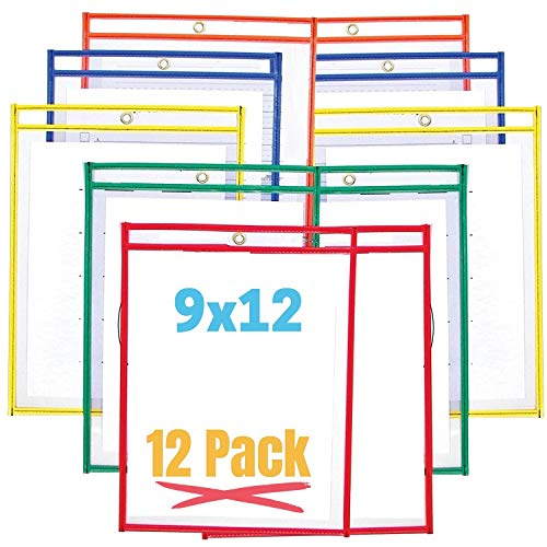 1InTheOffice Reusable Clear Dry Erase Pockets, Write-And-Wipe...