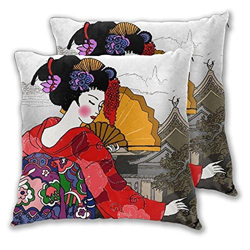 CANCAKA Juego de 2 Fundas de Cojín,Geisha, Mujer Japonesa, Paisaje Chino Abstracto,Decorativa Cuadrado Suave Funda de Almohada Sofá Sillas Cama Decoración para Hogar