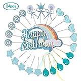 Ohighing Deco de Gateau Topper Gateau Anniversaire Topper Gateau Mariage Toppers Cupcake Cup gateaux kit Gateau Princesse Baby Shower Fete Bleu