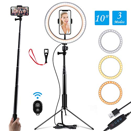 Ring Light 10' Selfie Light Ring with Adjustable Bracket (14.56'' to 65'') Remote Control 3 Modes & 10 Brightness 120 Bulbs Dimmable Desktop Ringlight for YouTube Video/Live Stream/Makeup/Photography