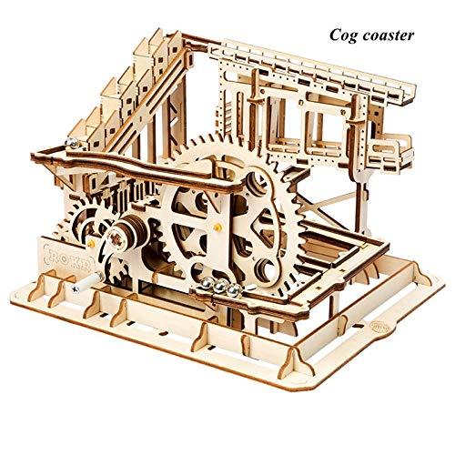 QWERTYU LIFUQIANGME Robotime 4 Soorten DIY Run Spel Houten Zahnradantrieb Modellbau Kits Mechanischen Geschenk Voor Kinderen LG501-LG504 Voor Dropshipping (Kleur : COG Coaster)
