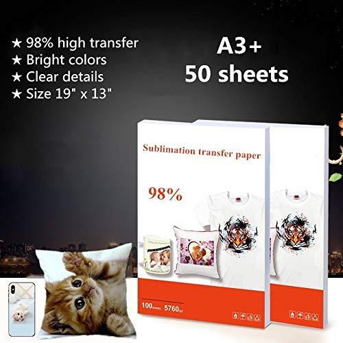 50 Blatt/Packung Wärmeübertragungspapier, Sublimationspapier, Tinte bedruckt, Transfermaterial für T-Shirts, Tassen, Teller, Handyhülle etc. – A3 Plus Größe 48,3 x 33 cm