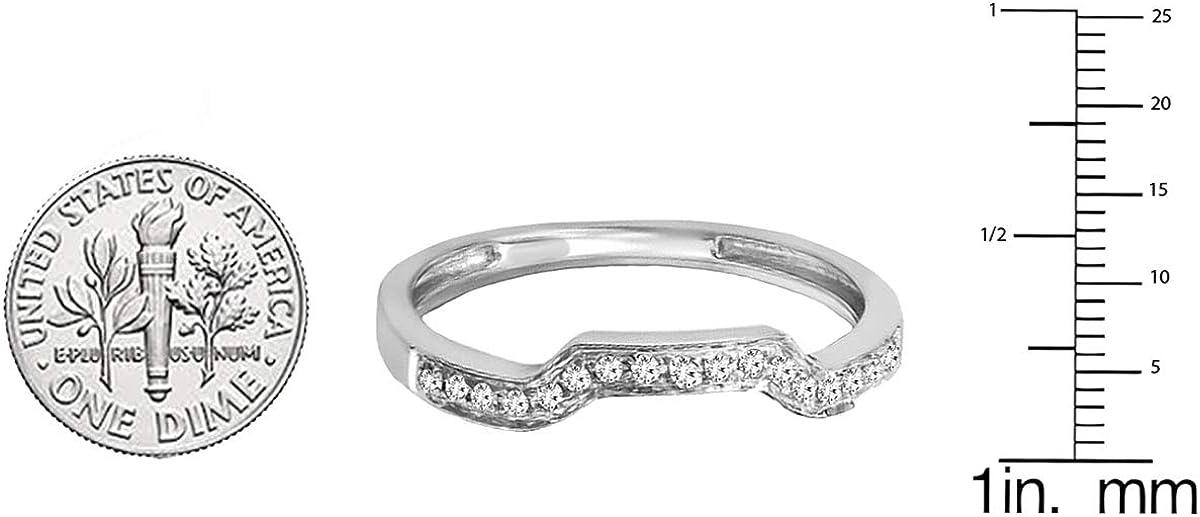 Dazzlingrock Collection 0.08 Carat (ctw) 10K Gold Round White Diamond Ladies Wedding Band Enhancer Guard Ring