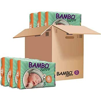 Bambo Nature Premium Baby Diapers - XXS Size, Monthly Pack 144 Count, for Premature Baby - Super Absorbent, Eco-Friendly and with a Wetness Indicator