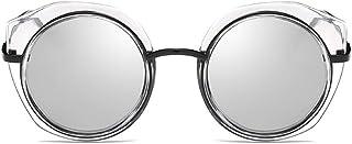 Fashion Round Frame Glasses UV400 Protection Classic Fashion New Ladies Polarized Sunglasses Retro (Color : Silver)