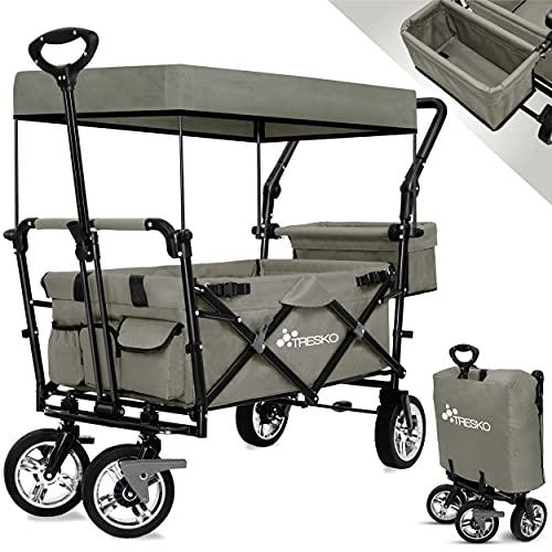 TRESKO Bollerwagen faltbar mit Dach | Handwagen mit 3-Punkt Gurtsystem | Gartenwagen klappbar | Transportwagen mit Vollgummi-Reifen + Bremse + Tragetasche (Grau)
