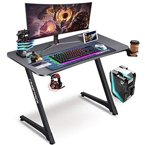 kingrack Escritorio para juegos en forma de Z, escritorio de PC para juegos, mesas de jugador, mesa de trabajo de computadora, mesa de escritura con alfombrilla de ratón gratis