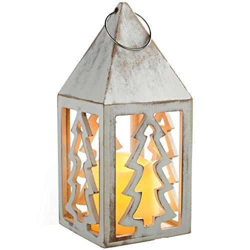 WeRChristmas – Cuore Lanterna Decorazione Natalizia, In Legno, Legno, White, 10.5X10.5X21.5 Cm