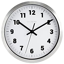 La Crosse Technology 404-2626 La Crosse 10 in Silver Metal Analog Wall Clock with White Dial